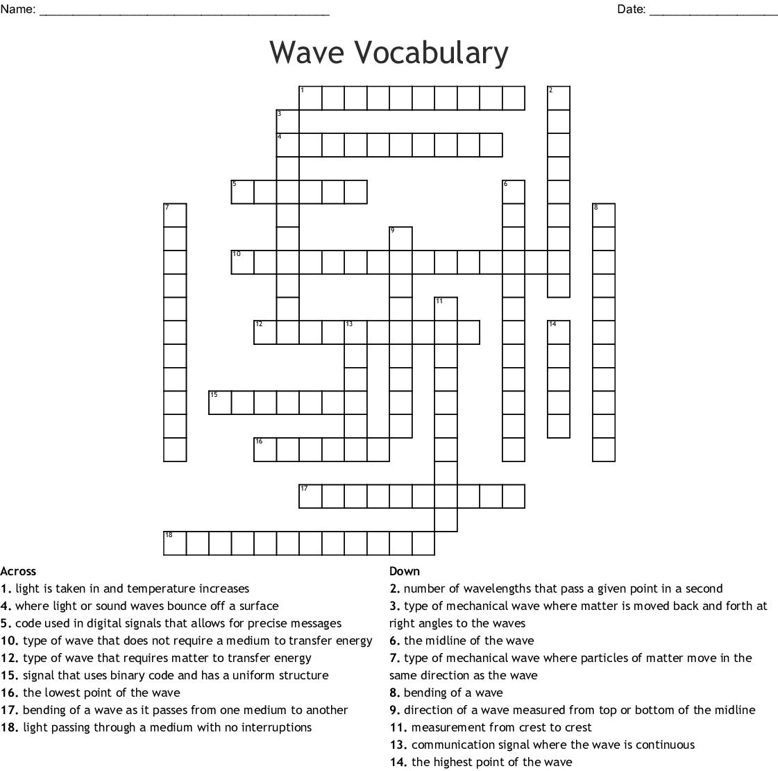Waves Worksheet Answer Key
