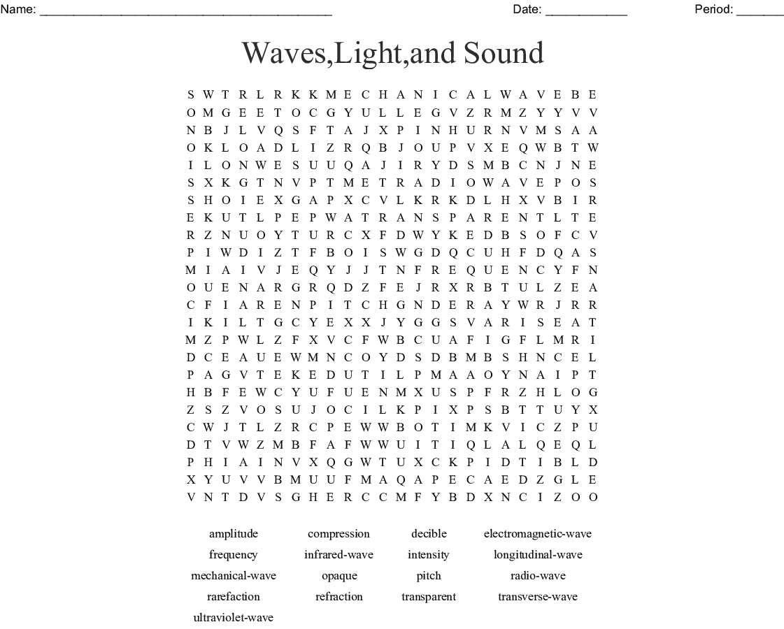 Waves Light And Sound Word Search