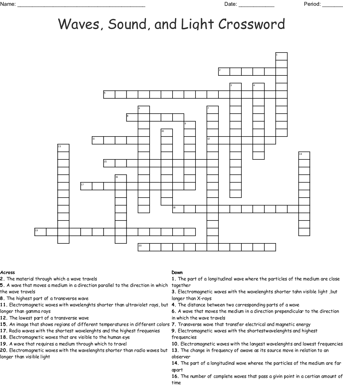 Light Waves Chem Worksheet 5 1 Answers