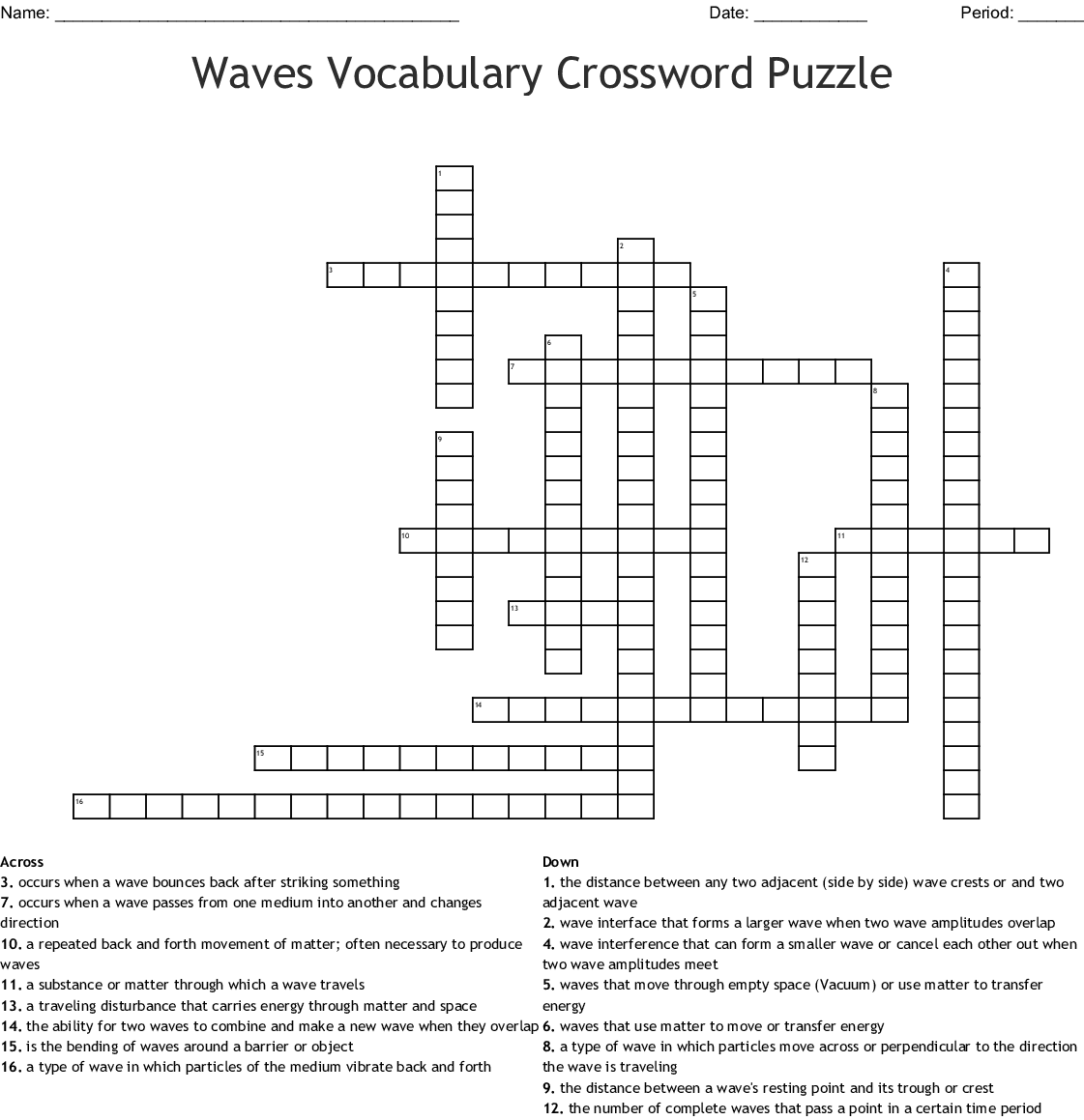 Physics Waves Crossword