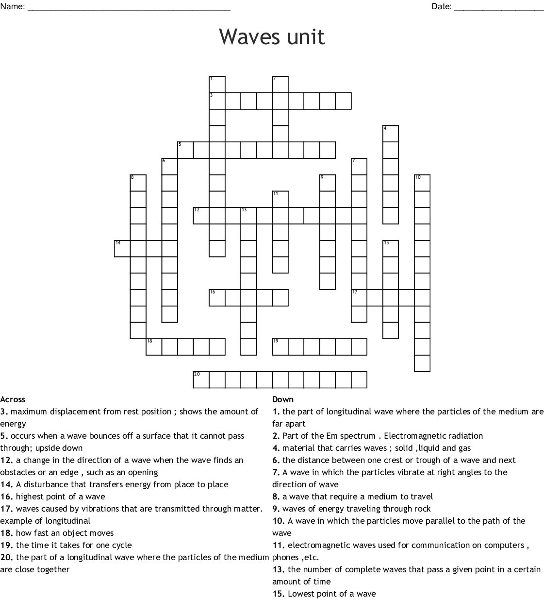 Waves Sound And Light Crossword Answer Key