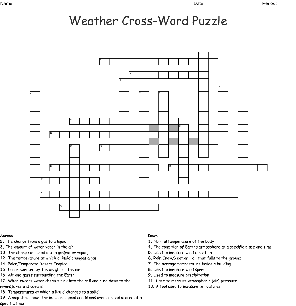 Climate And Weather Word Search