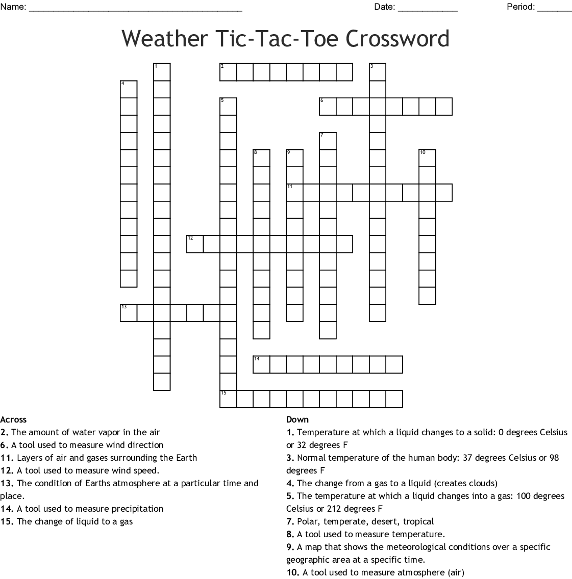 Weather Crossword Puzzle Worksheet Answers