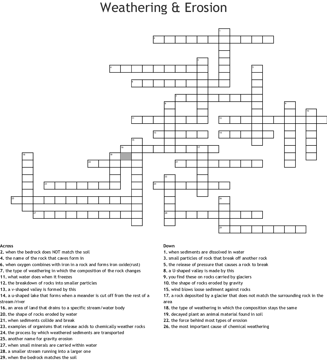 Weathering And Erosion Word Search