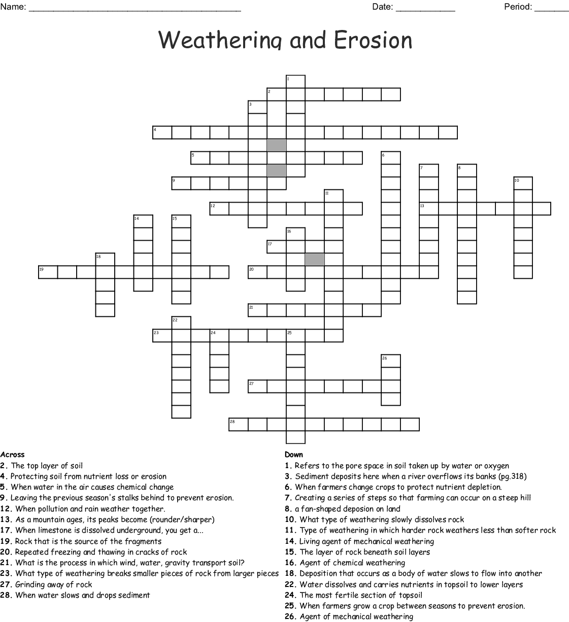 Weathering Crossword Puzzle