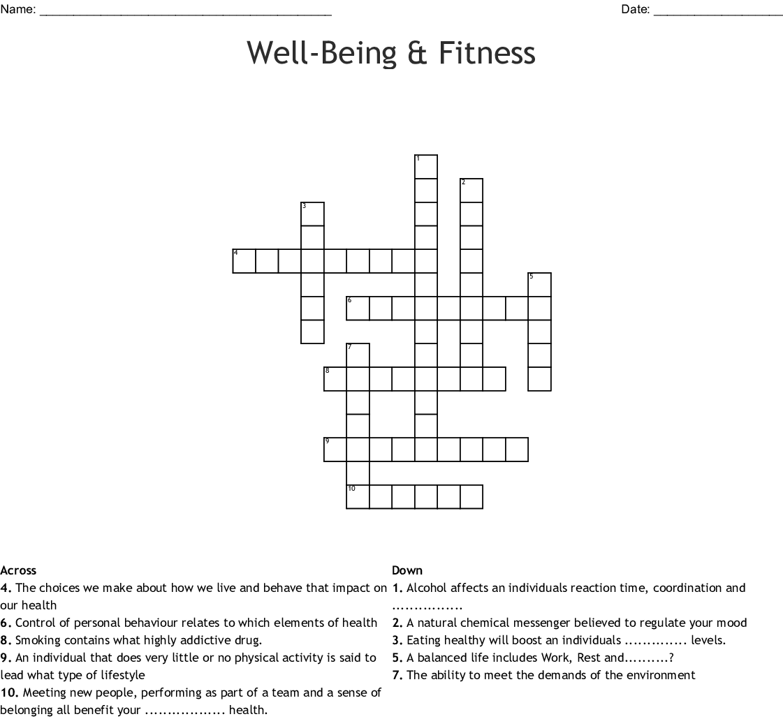 Well Being Amp Fitness Crossword