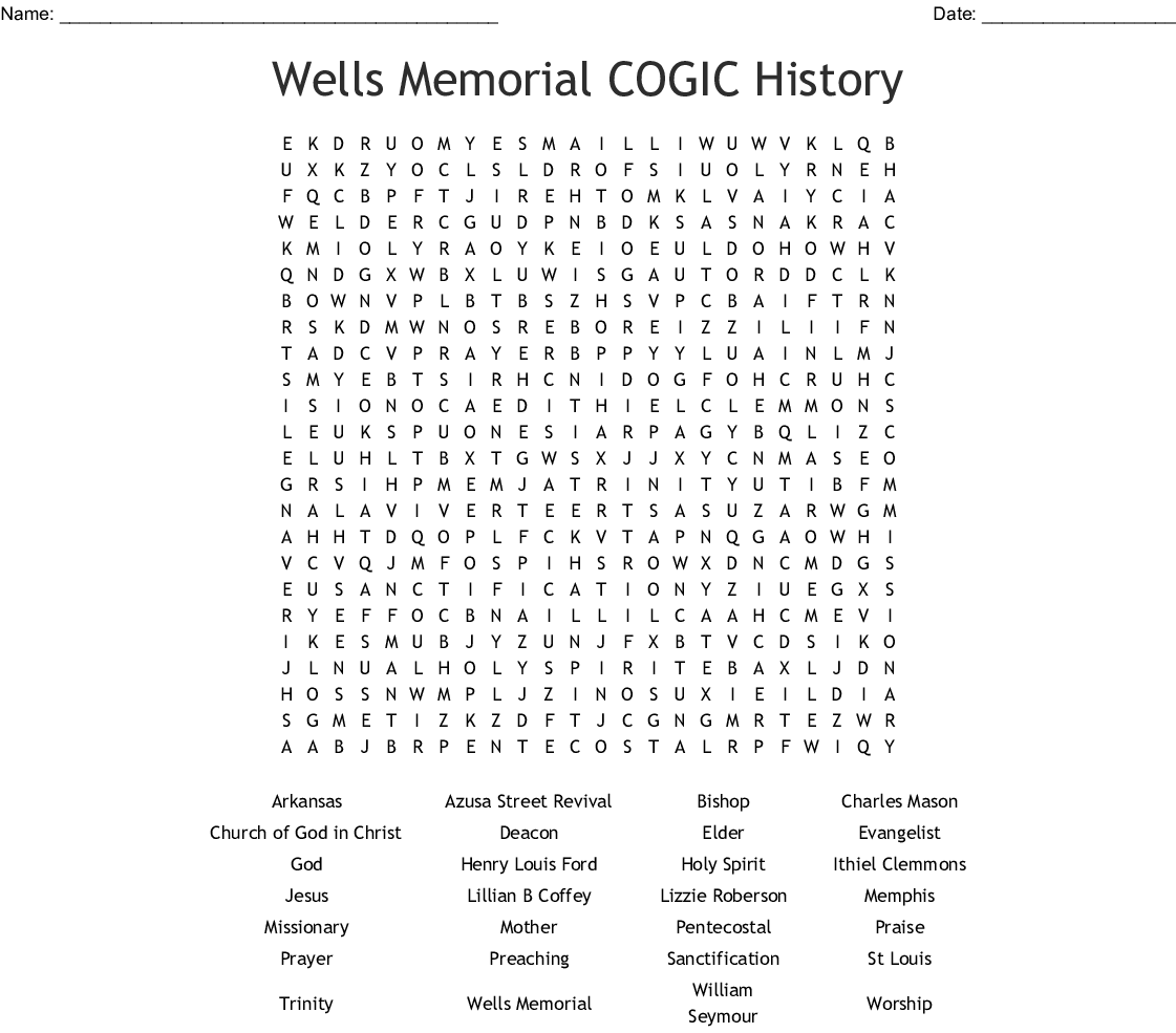 Similar To Pre Test Cogic History Crossword Puzzle