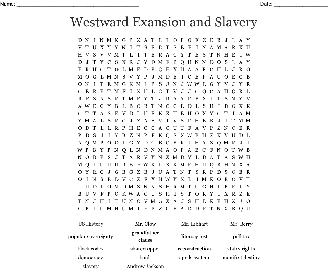 Westward Exansion And Slavery Word Search