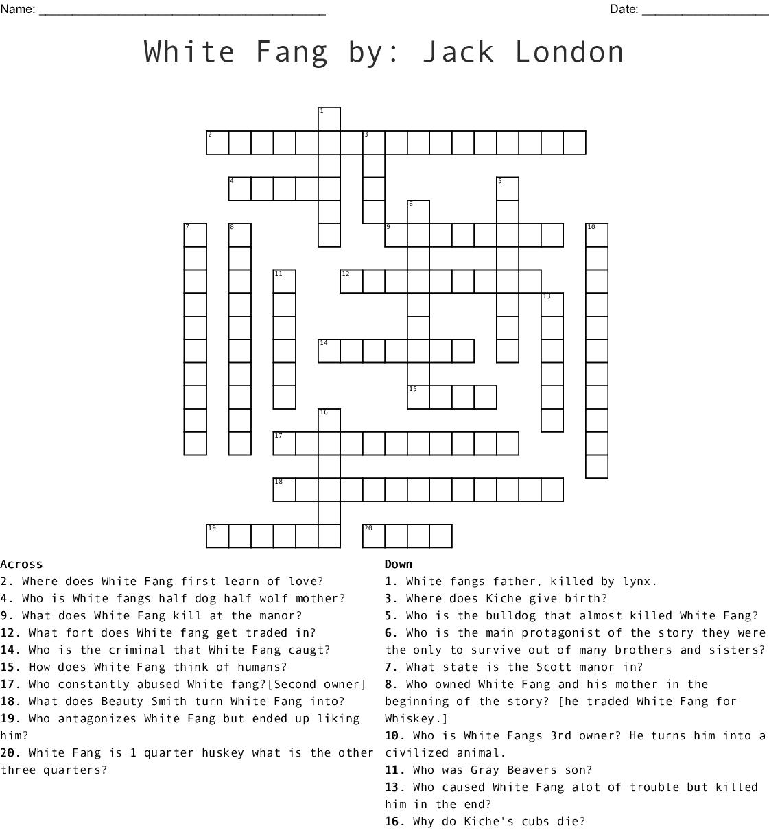 White Fang By Jack London Crossword