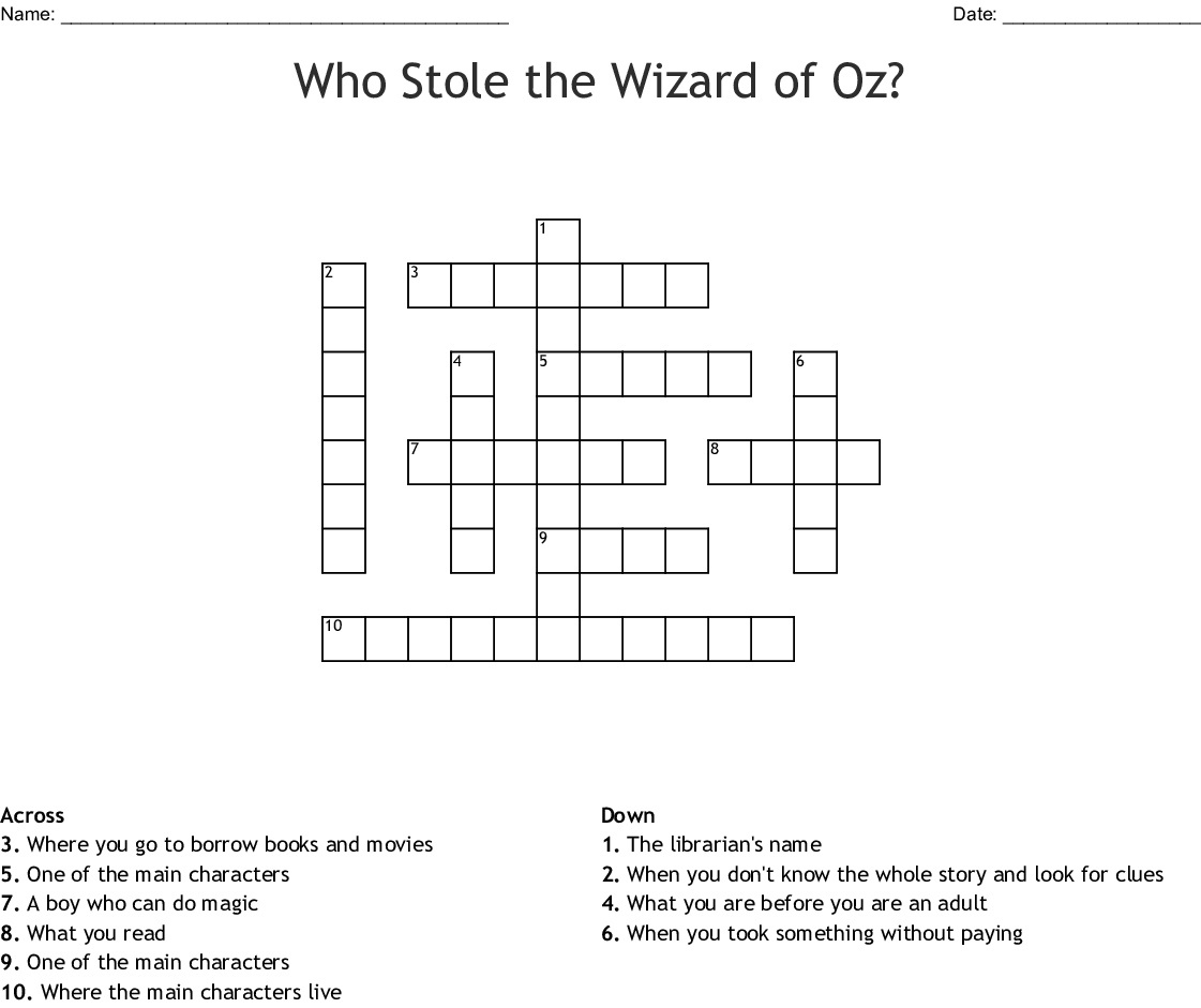 Who Stole The Wizard Of Oz Crossword