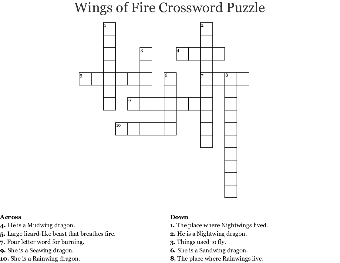 Wings Of Fire Word Search