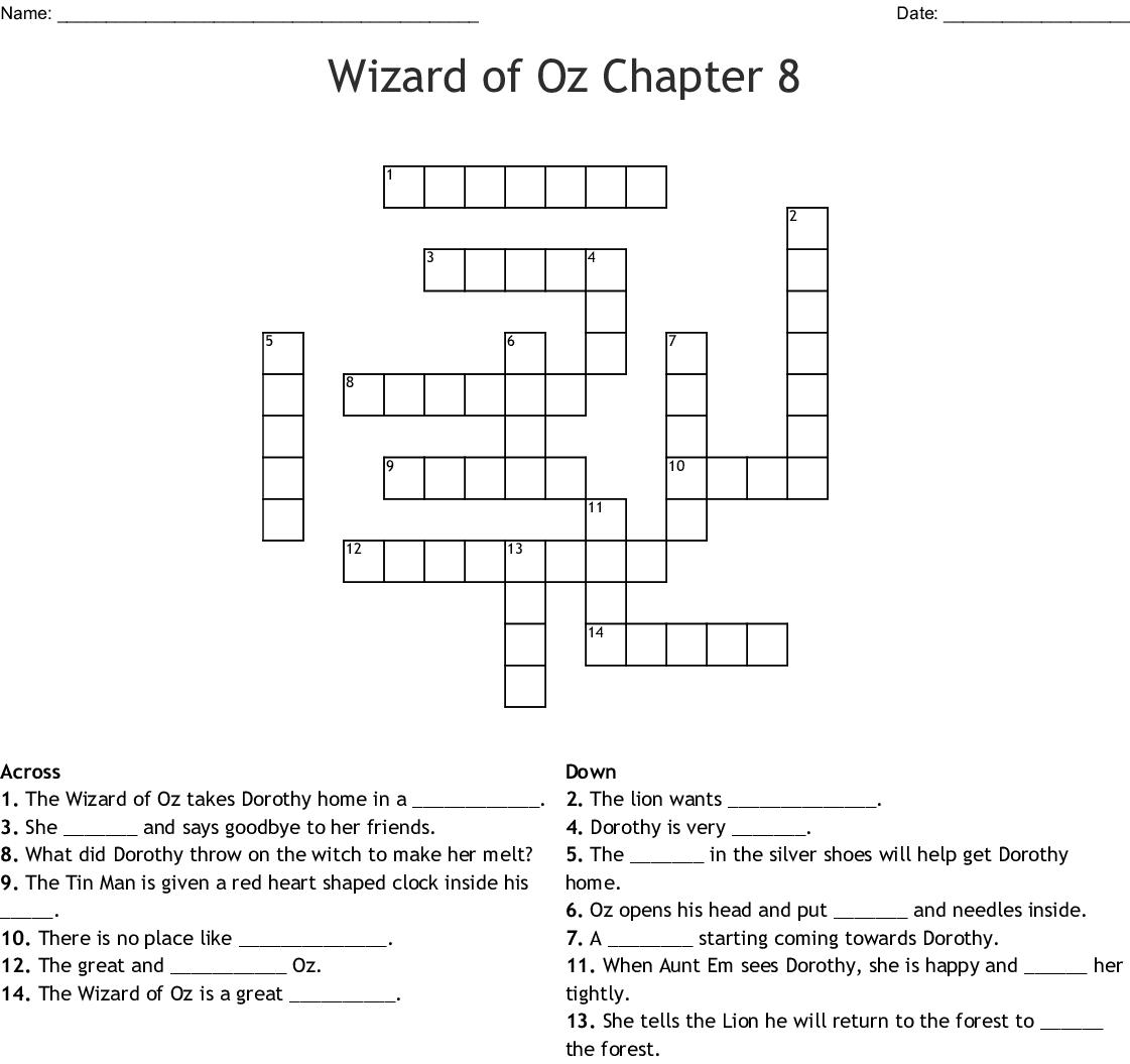 Wizard Of Oz Chapter 8 Crossword