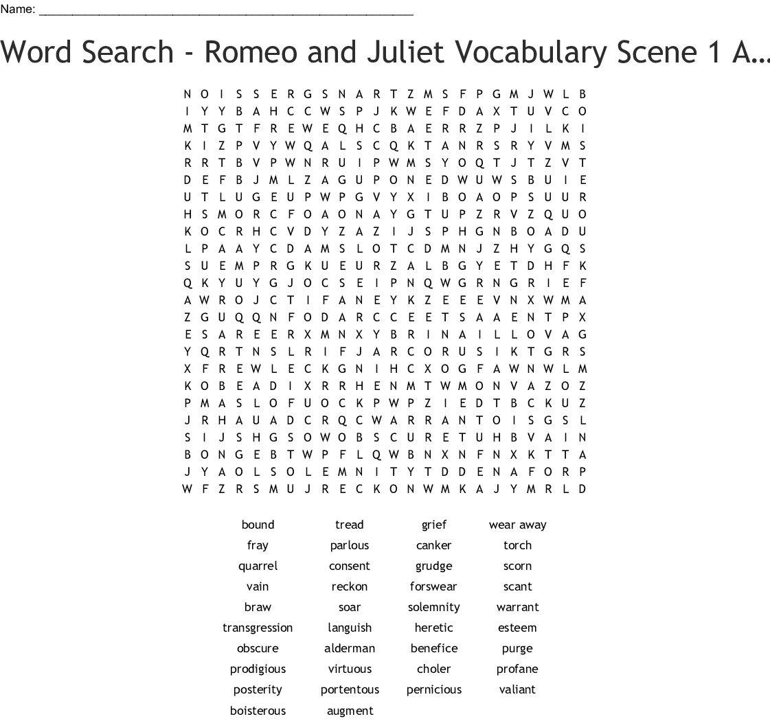 Romeo And Juliet Act 1 Crossword