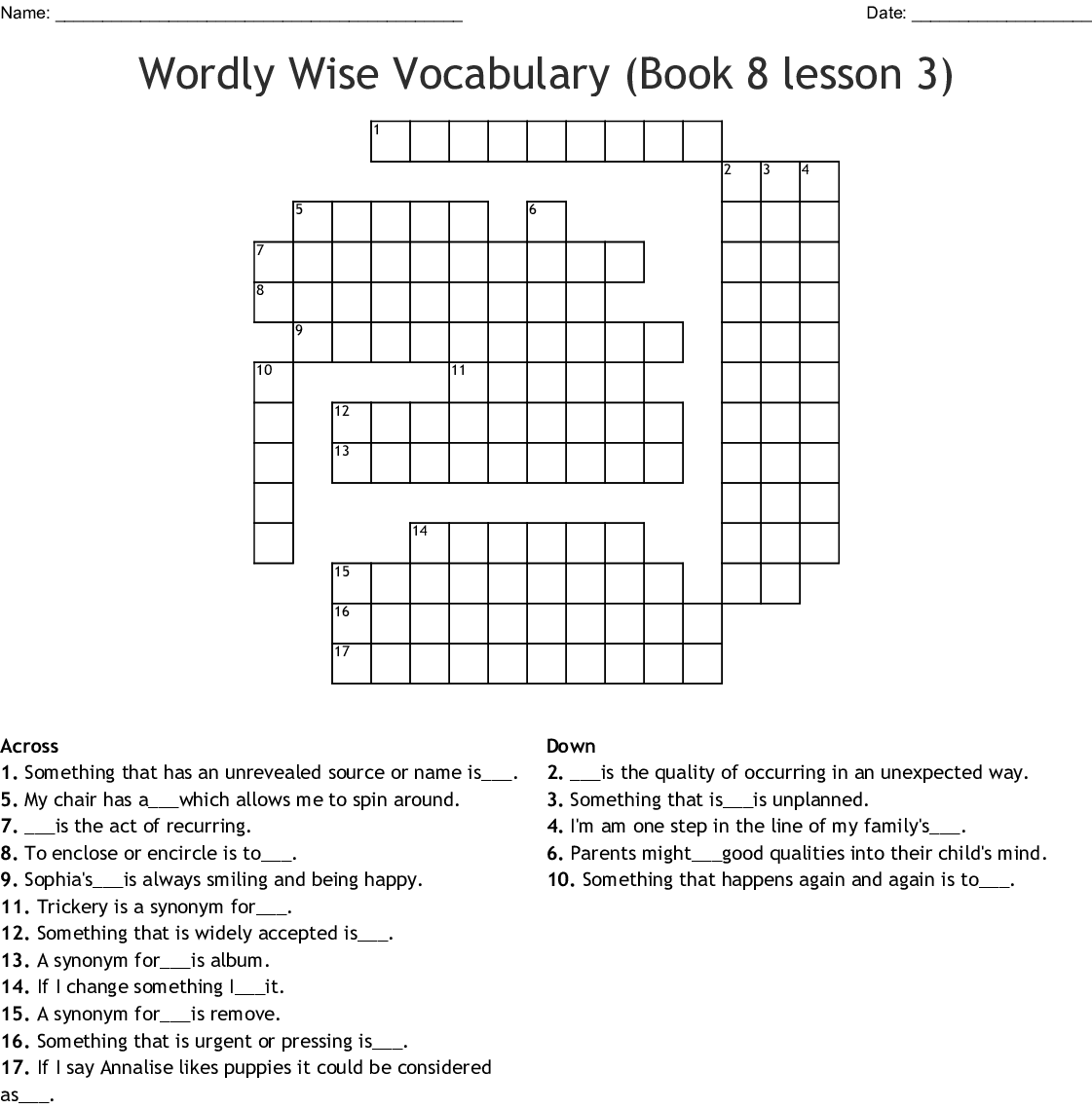 Bestseller Wordly Wise Book 8 Lesson 6 Answers