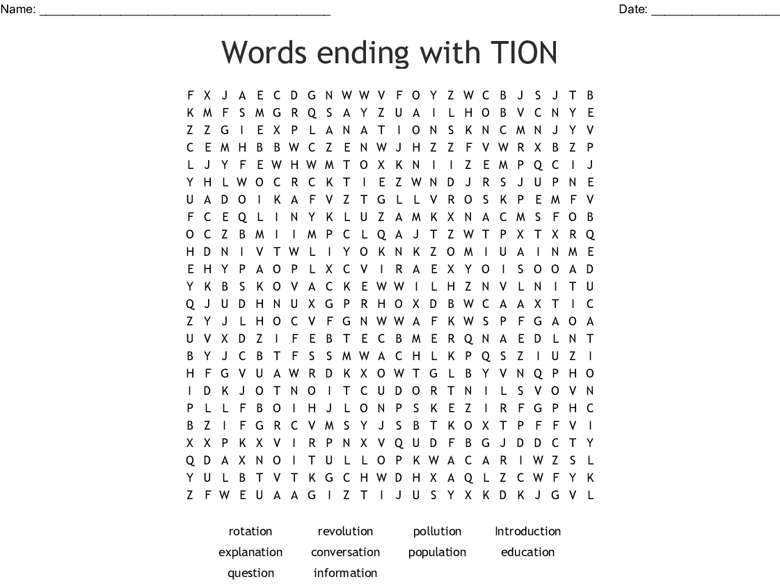Words Ending With Tion Word Search
