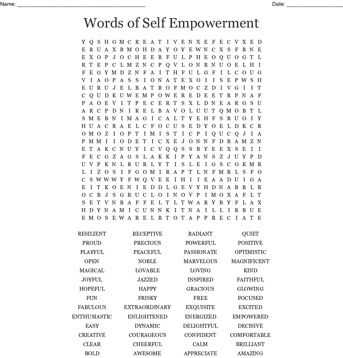 Words Of Self Empowerment Word Search