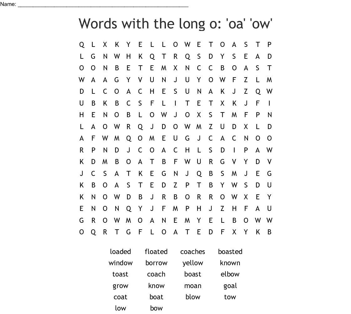 Words With The Long O Oa Ow Word Search