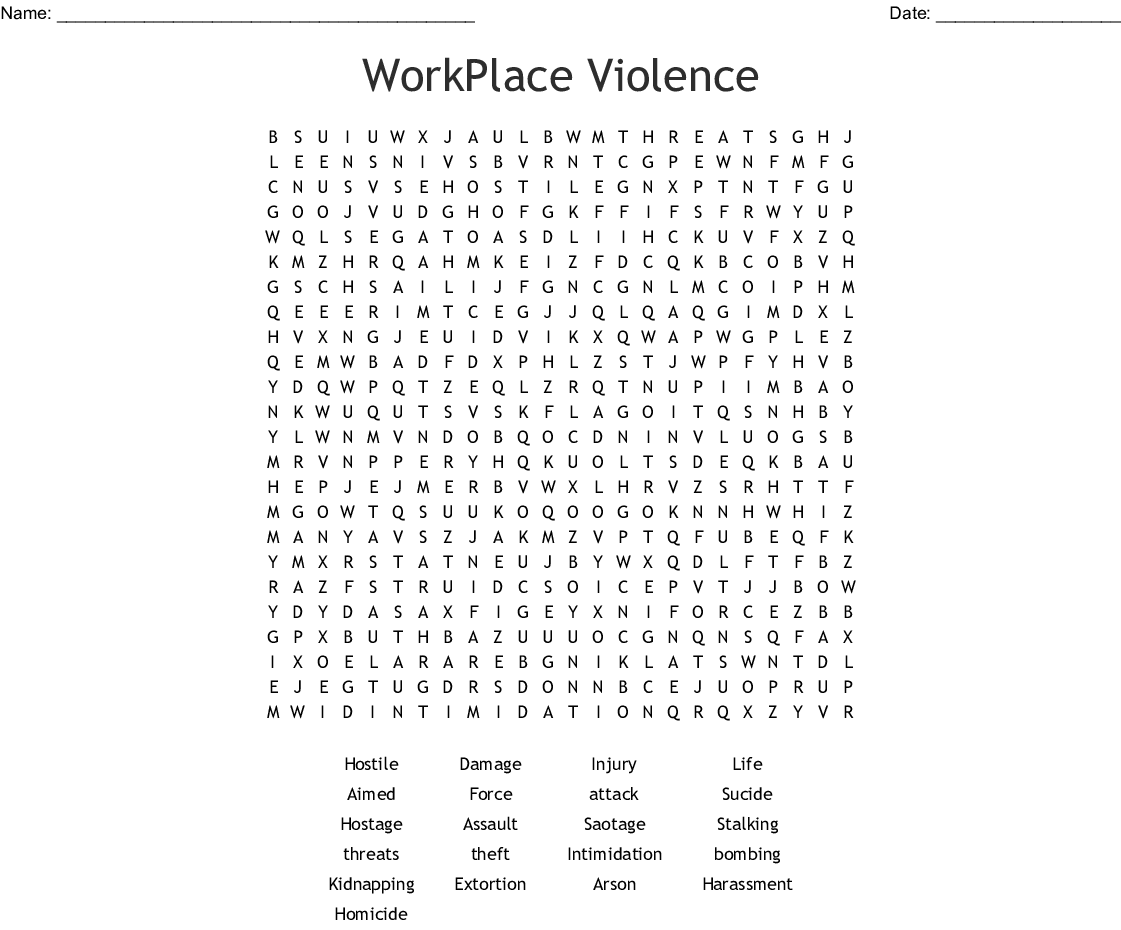 Workplace Violence Word Search