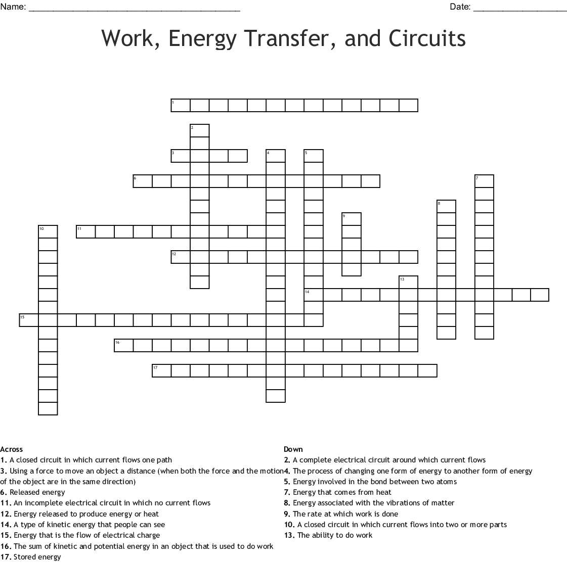 Work Energy Transfer And Circuits Crossword
