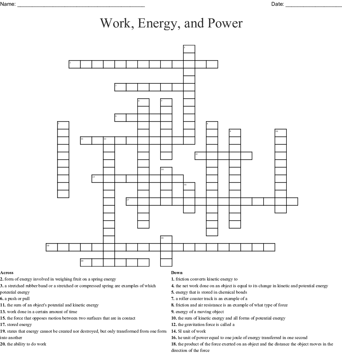 Work Power Energy Worksheet