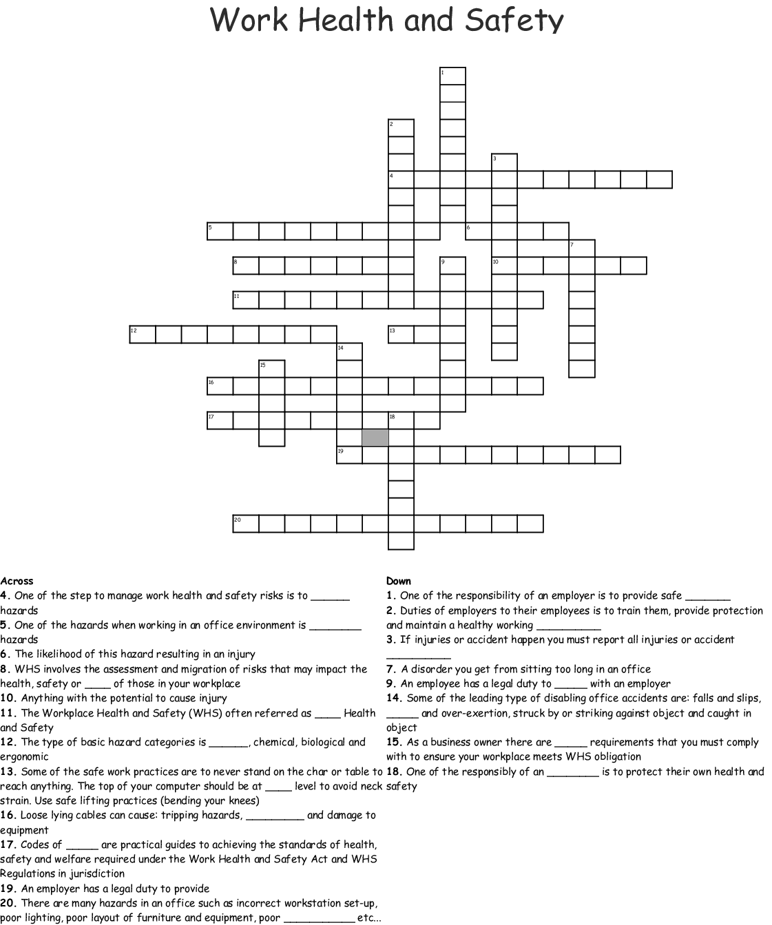 Work Health And Safety Crossword