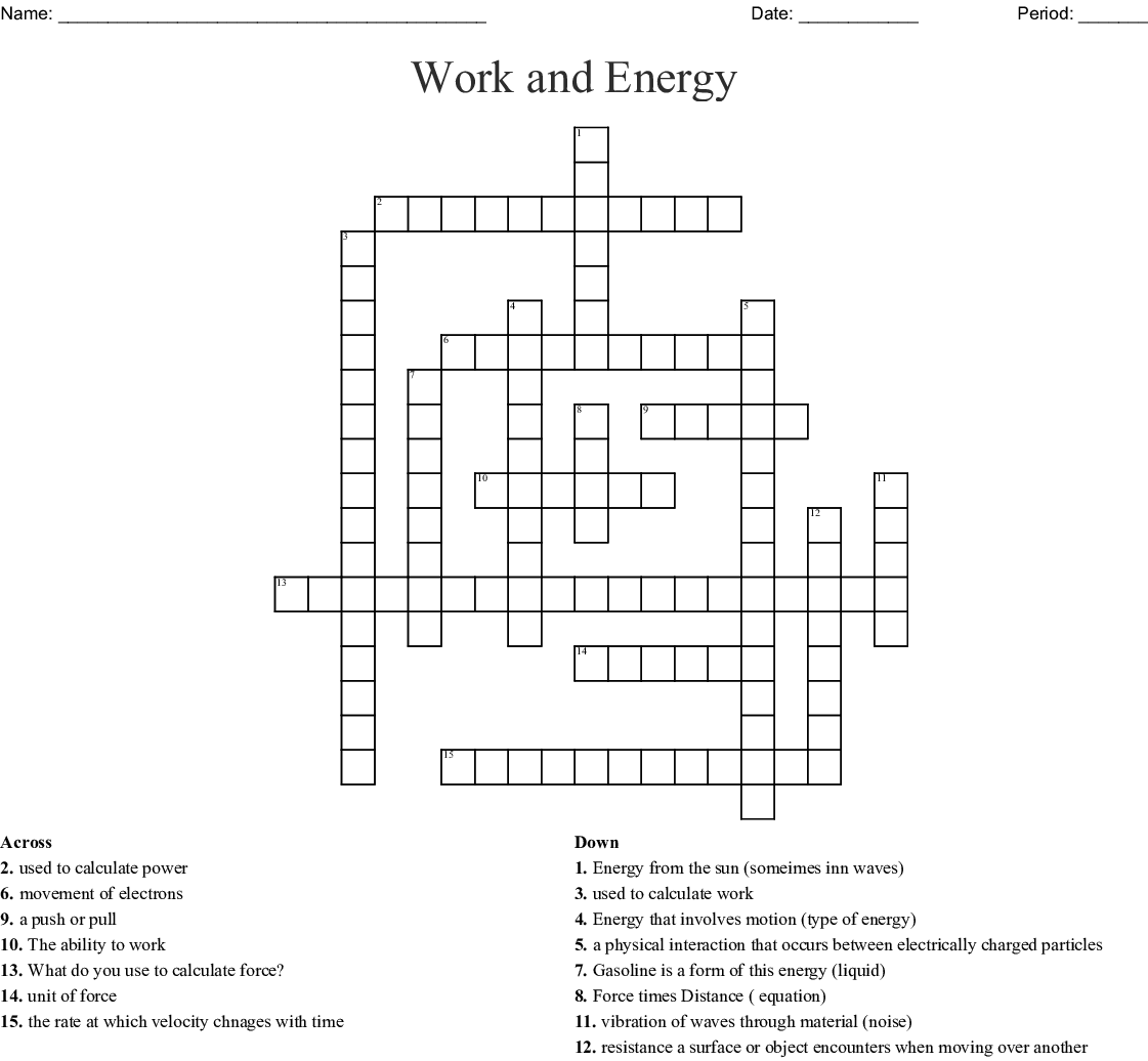 Work And Energy Crossword
