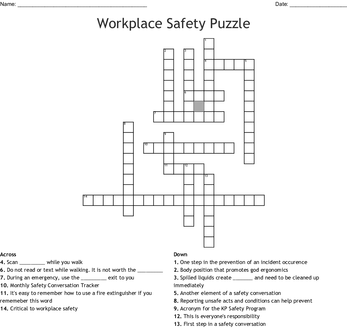 Workplace Safety Puzzle Crossword