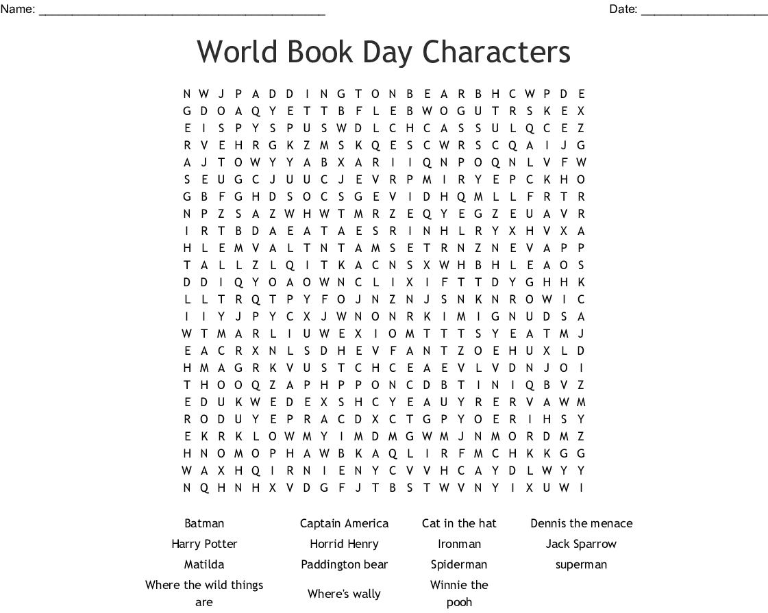 World Book Day Characters Word Search