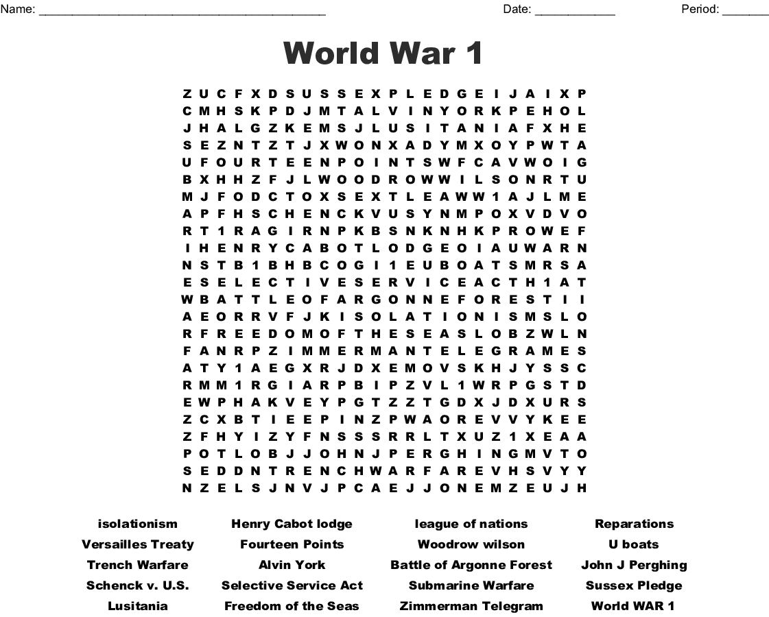U S History From To Word Search