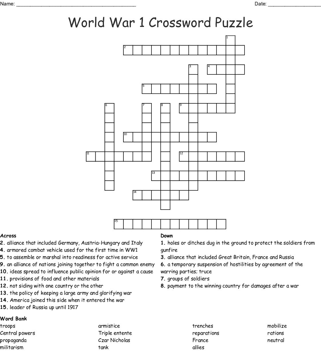 World War 1 Crossword