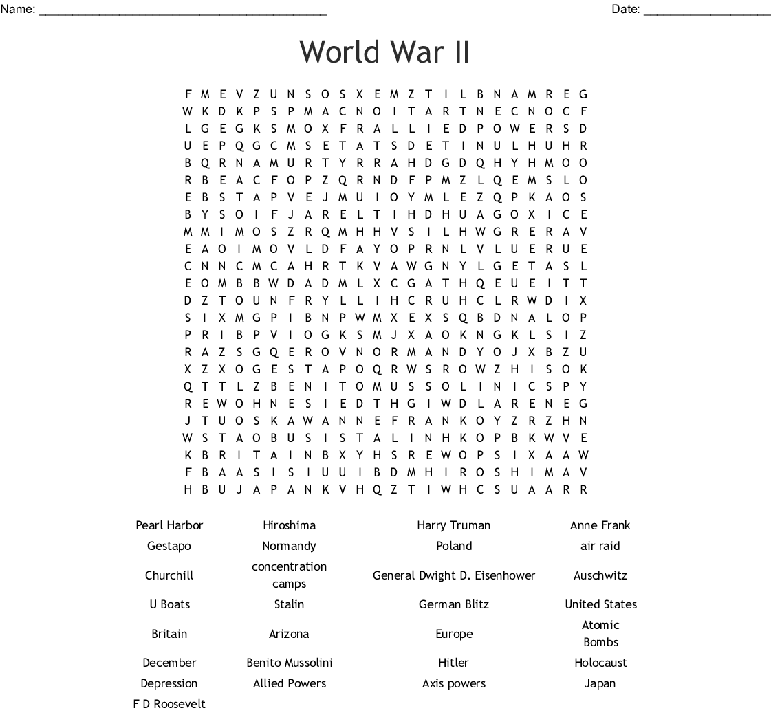 World War Ii Word Search