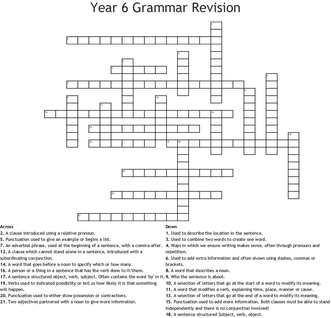 Year 6 Grammar Revision Crossword