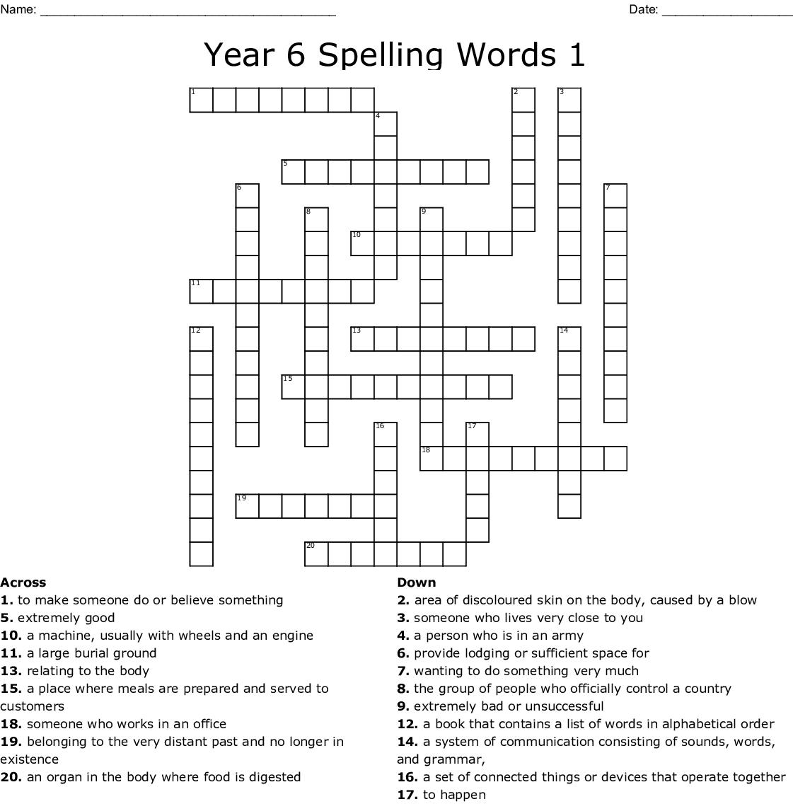 Year 6 Spelling Words 1 Crossword