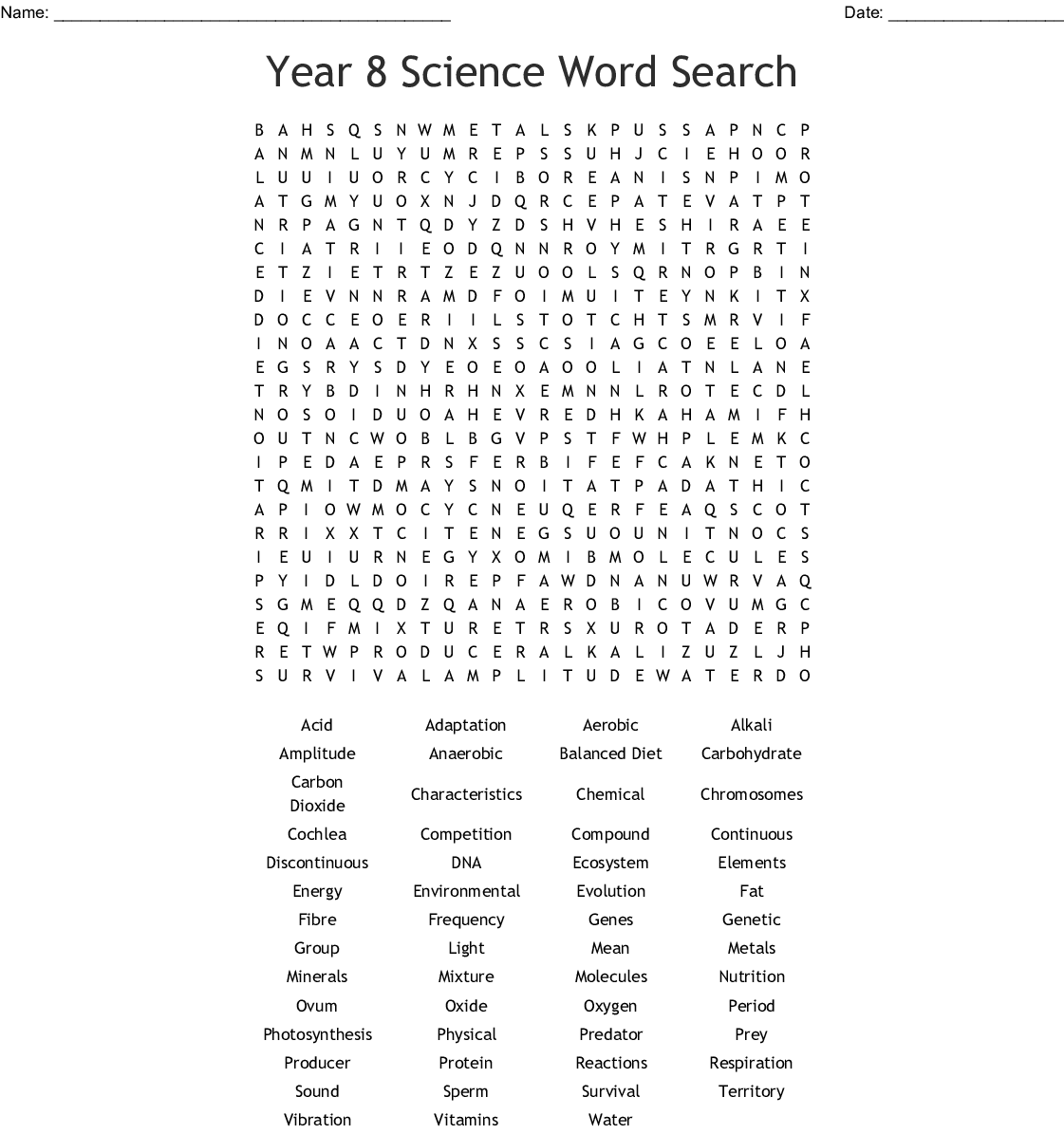 Edhelper Answer Key Science Word Search