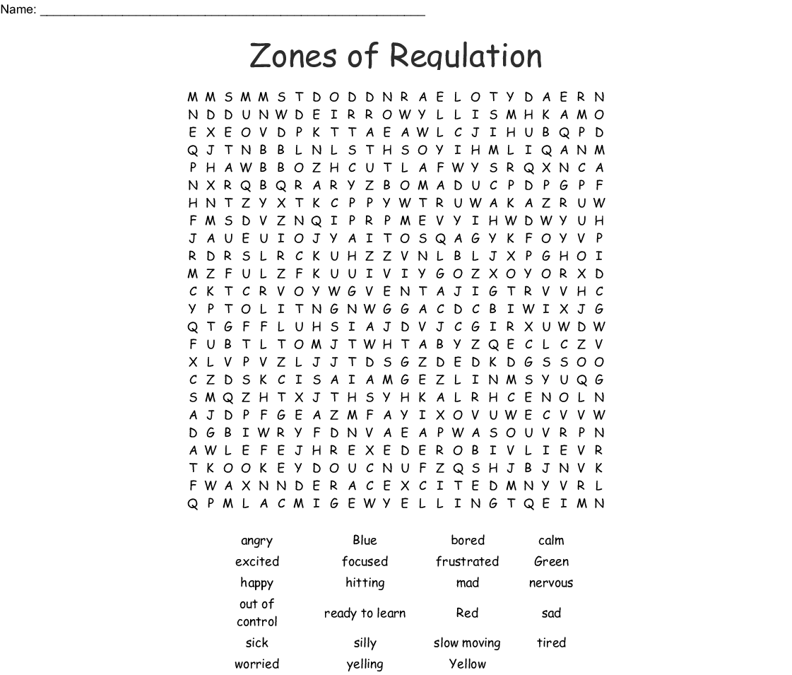 Latest Regulation Printout Zones Of Regulation Worksheets