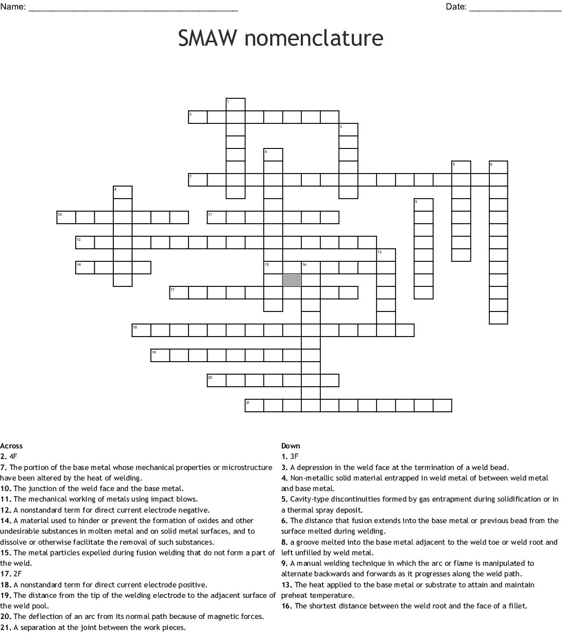 hight resolution of smaw nomenclature crossword