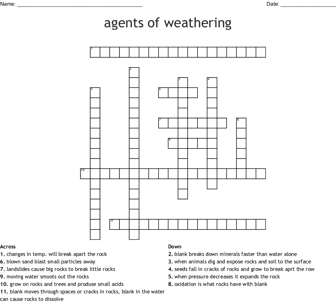 Physical And Chemical Weathering Crossword