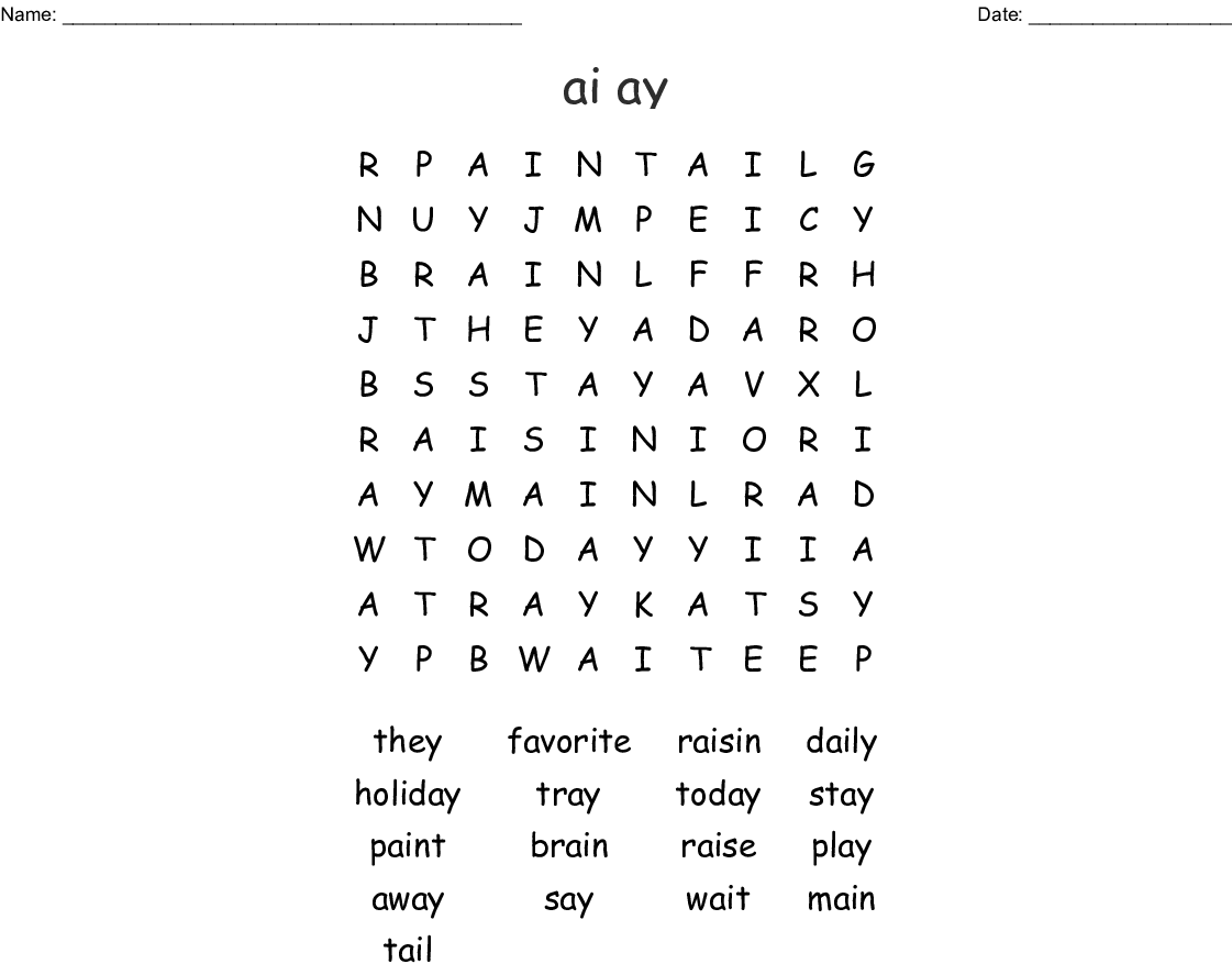 Ai Ay Word Search