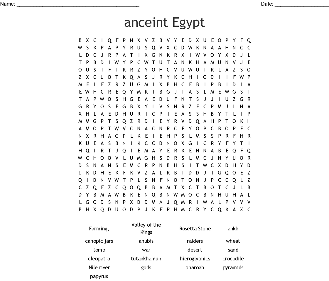 Anceint Egypt Word Search