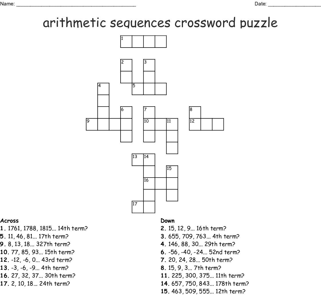 Arithmetic Sequences Worksheet Answer Key
