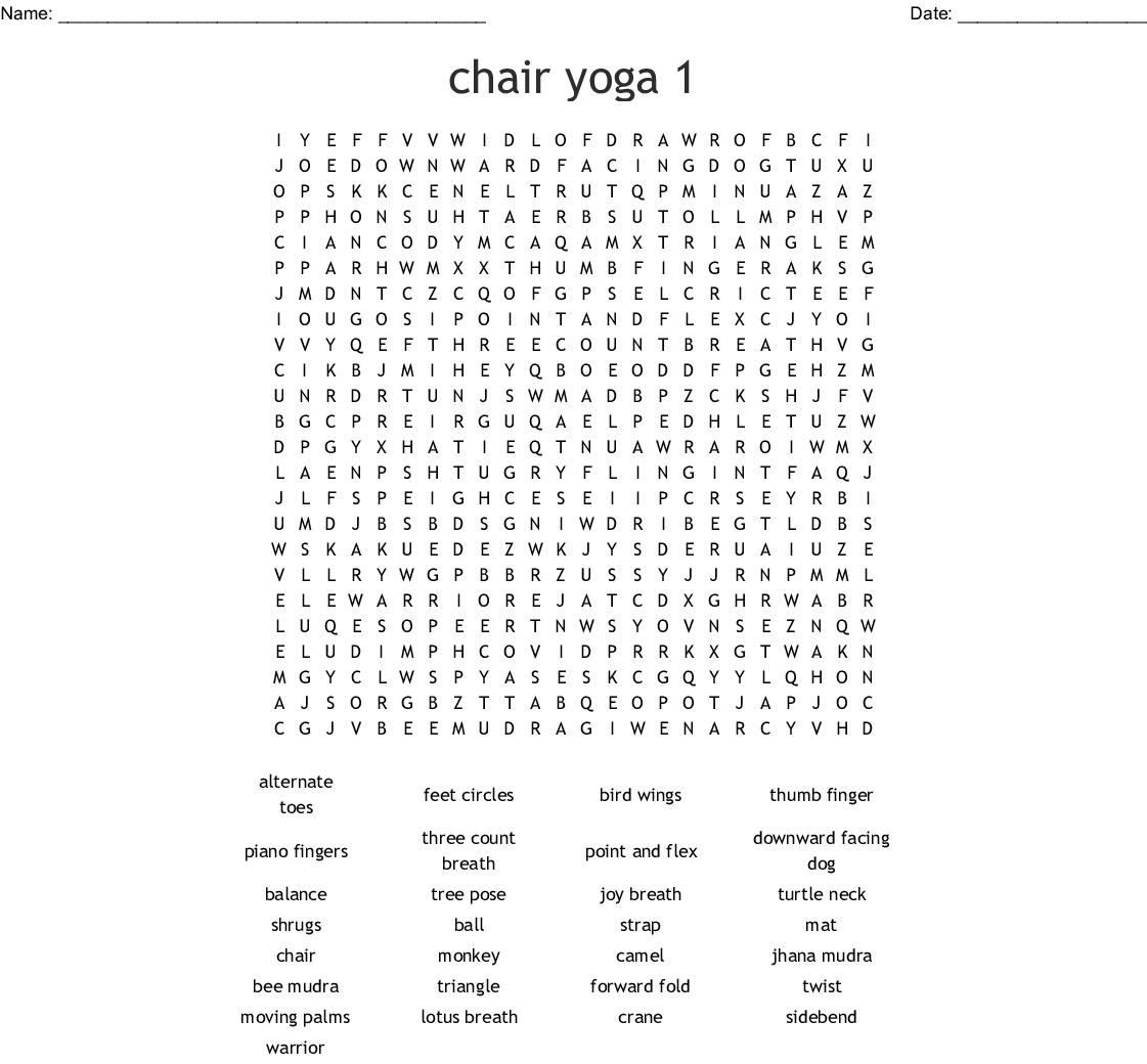 Chair Yoga 1 Word Search
