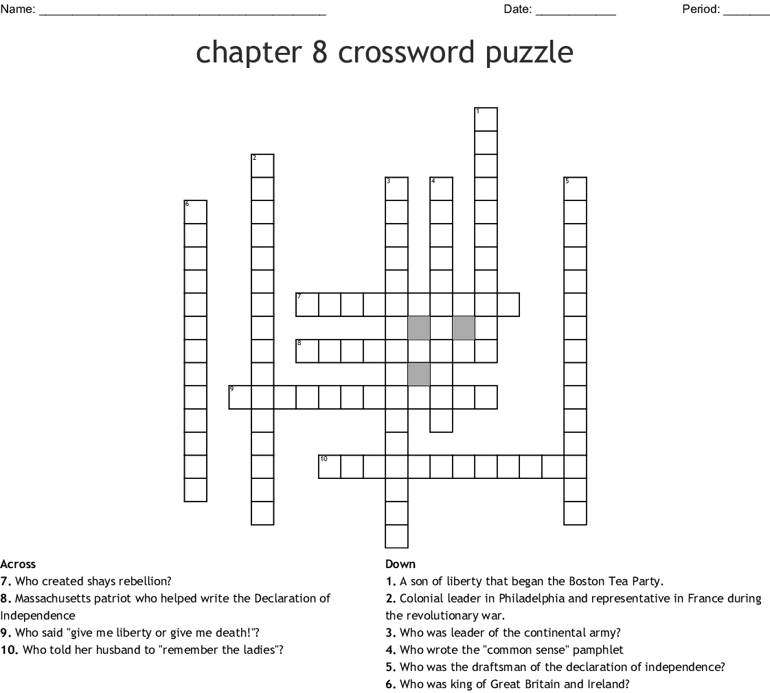 Chapter 8 Crossword Puzzle