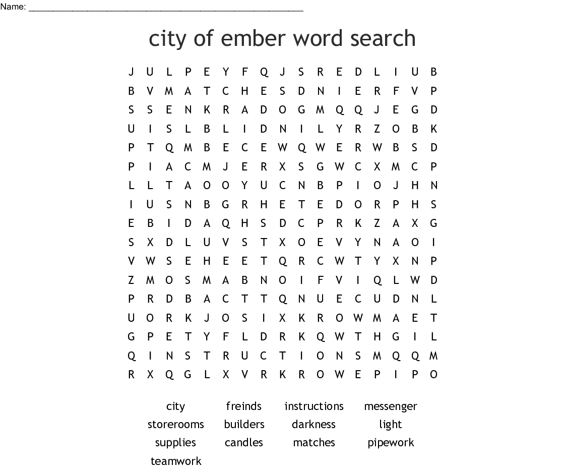 The City Of Ember Word Search