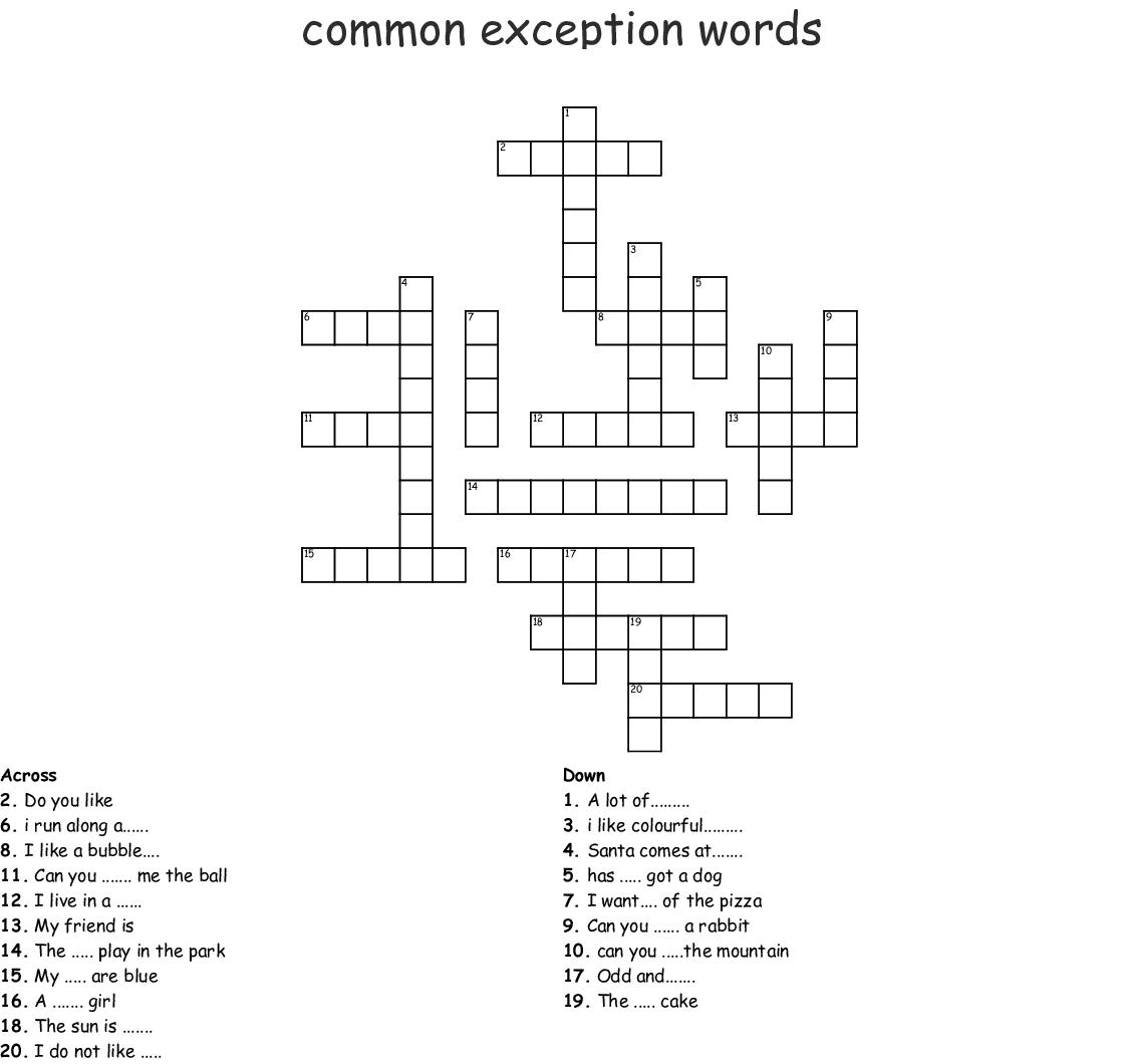 Common Exception Words Crossword