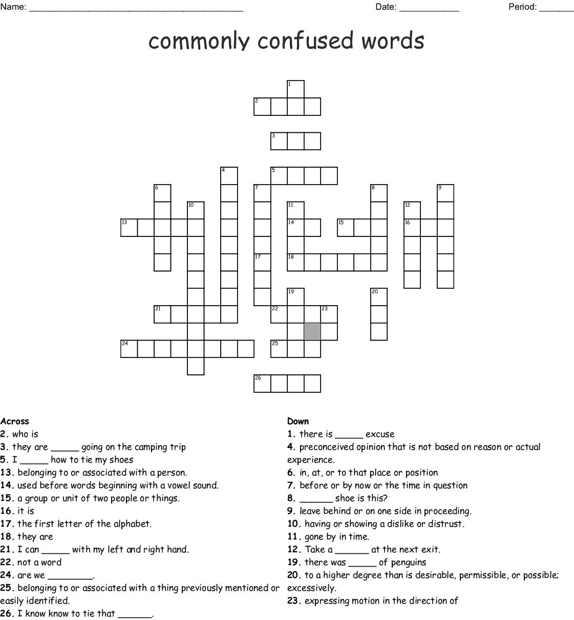 Commonly Confused Words Project Crossword Puzzle