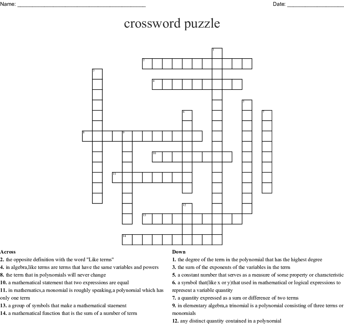 Math Project Crossword