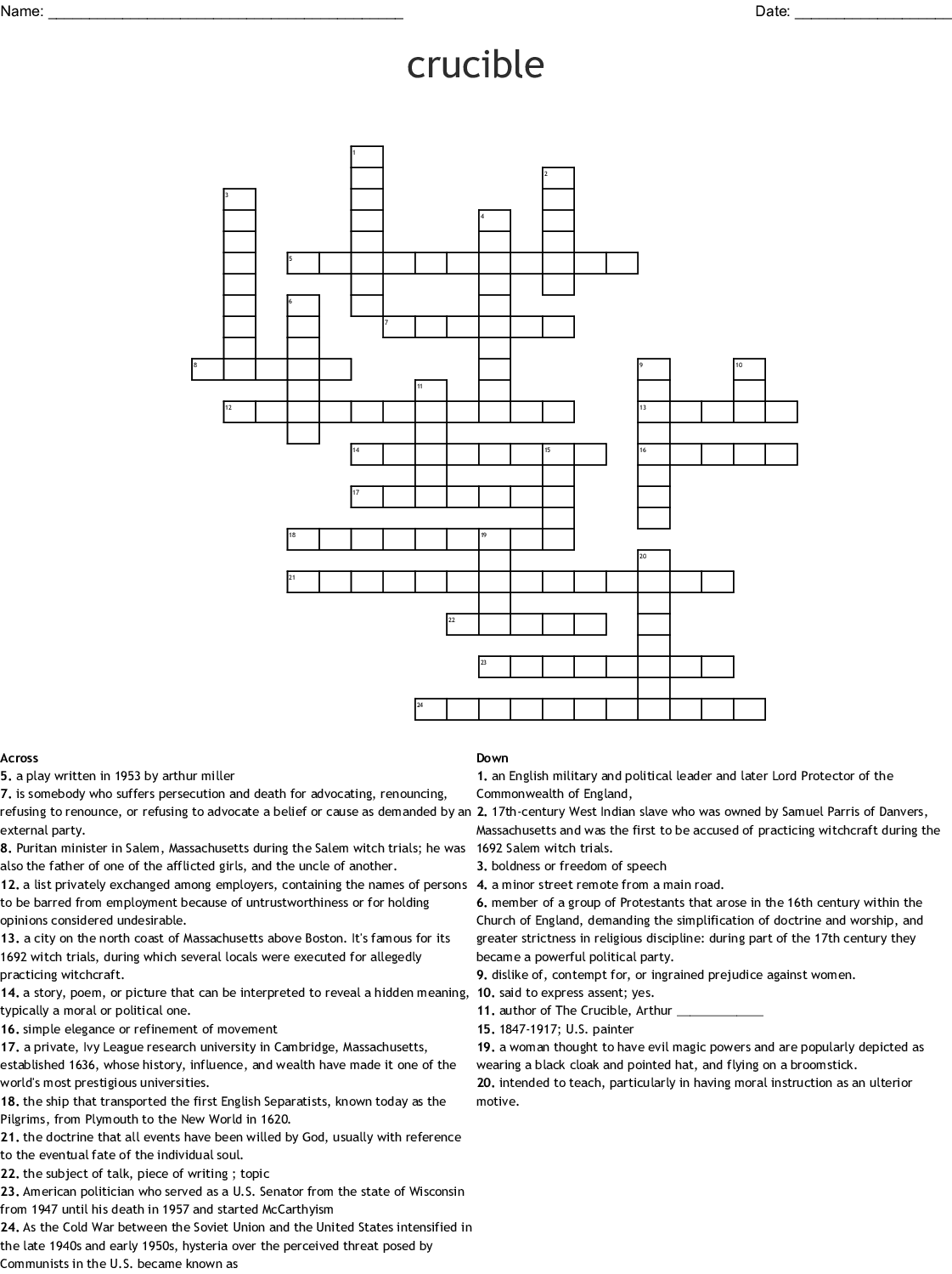The Salem Witch Trials Crossword