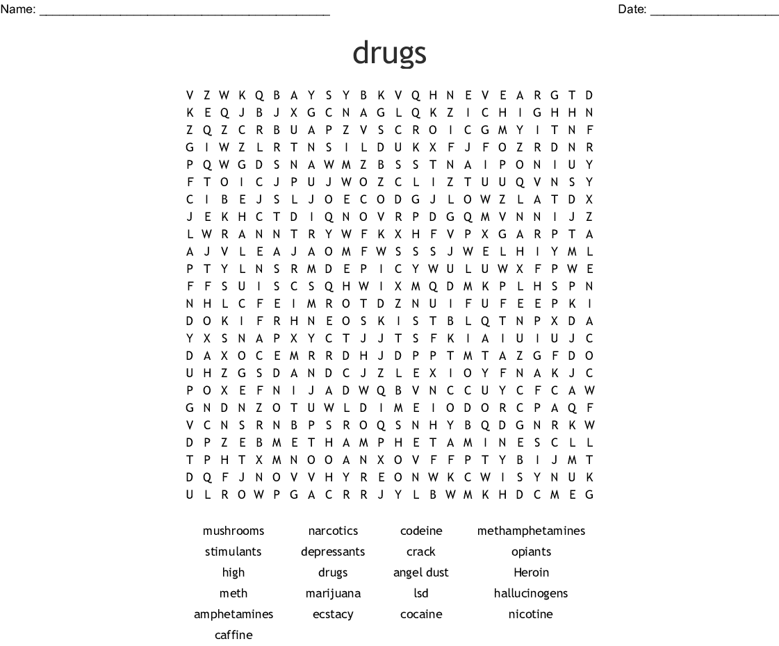 Substance Abuse Word Search