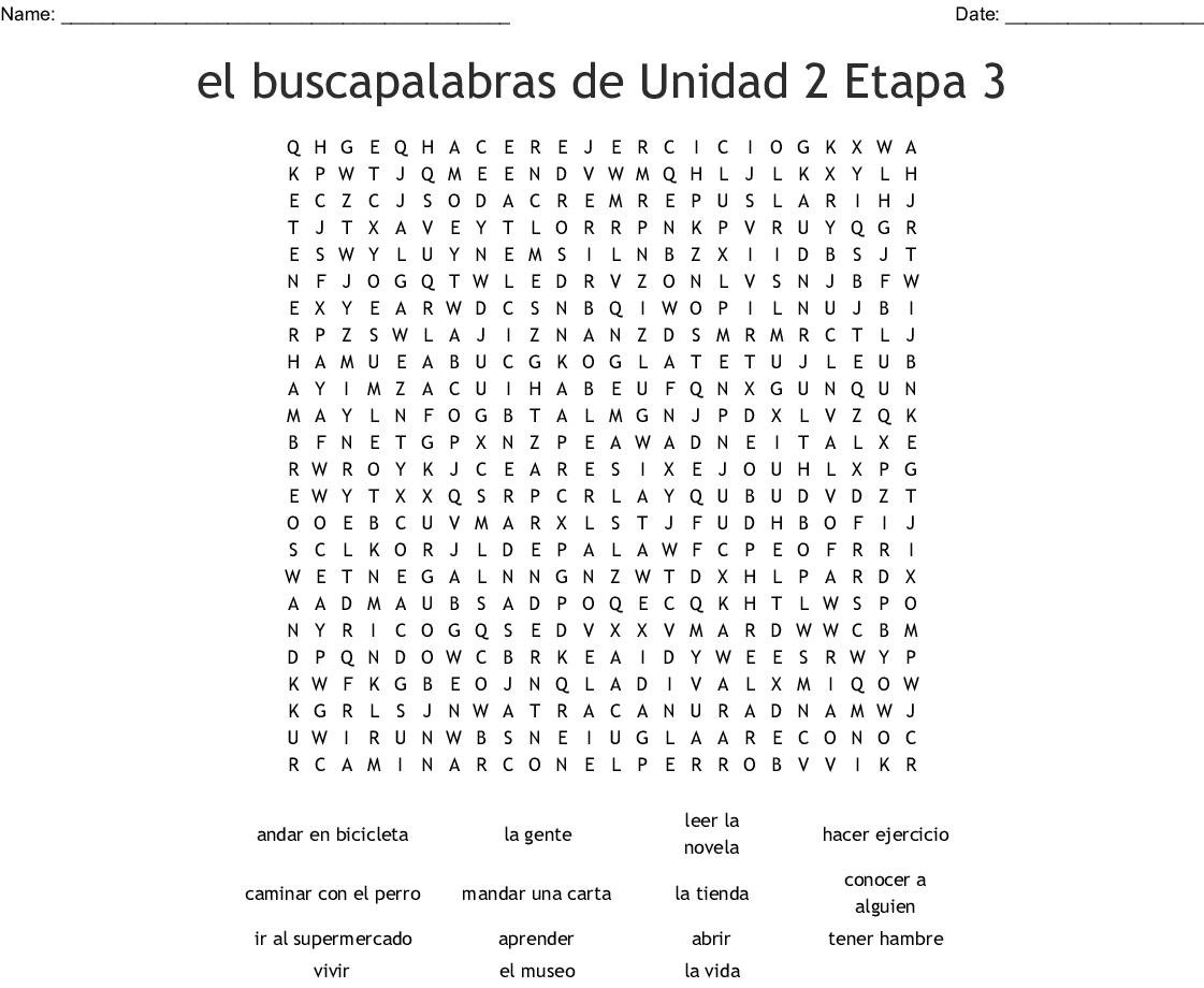 Spanish 2 Unidad 1 Etapa 2 Word Search