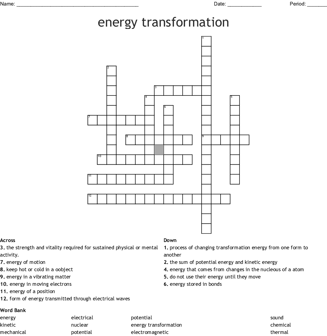 Energy Transformation Worksheet Answers Key